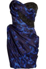 Marchesa Embellished Printed Silk Dress