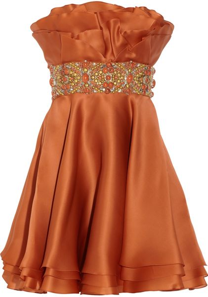 Marchesa Embellished Silkorganza Dress in Orange - Lyst