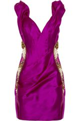 Marchesa Embellished Silkorganza Dress in Purple (pink) - Lyst