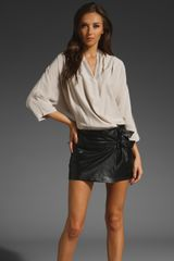 Parker Leather Combo Batwing Dress in Stone/black - Lyst
