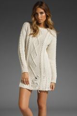 Pencey Destroyed Cable Knit Dress - Lyst