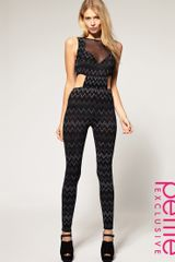 ASOS Collection Asos Petite Exclusive Deco Mesh Unitard - Lyst