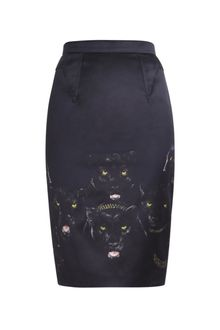 Givenchy Satin Semi Panther-print Skirt - Lyst