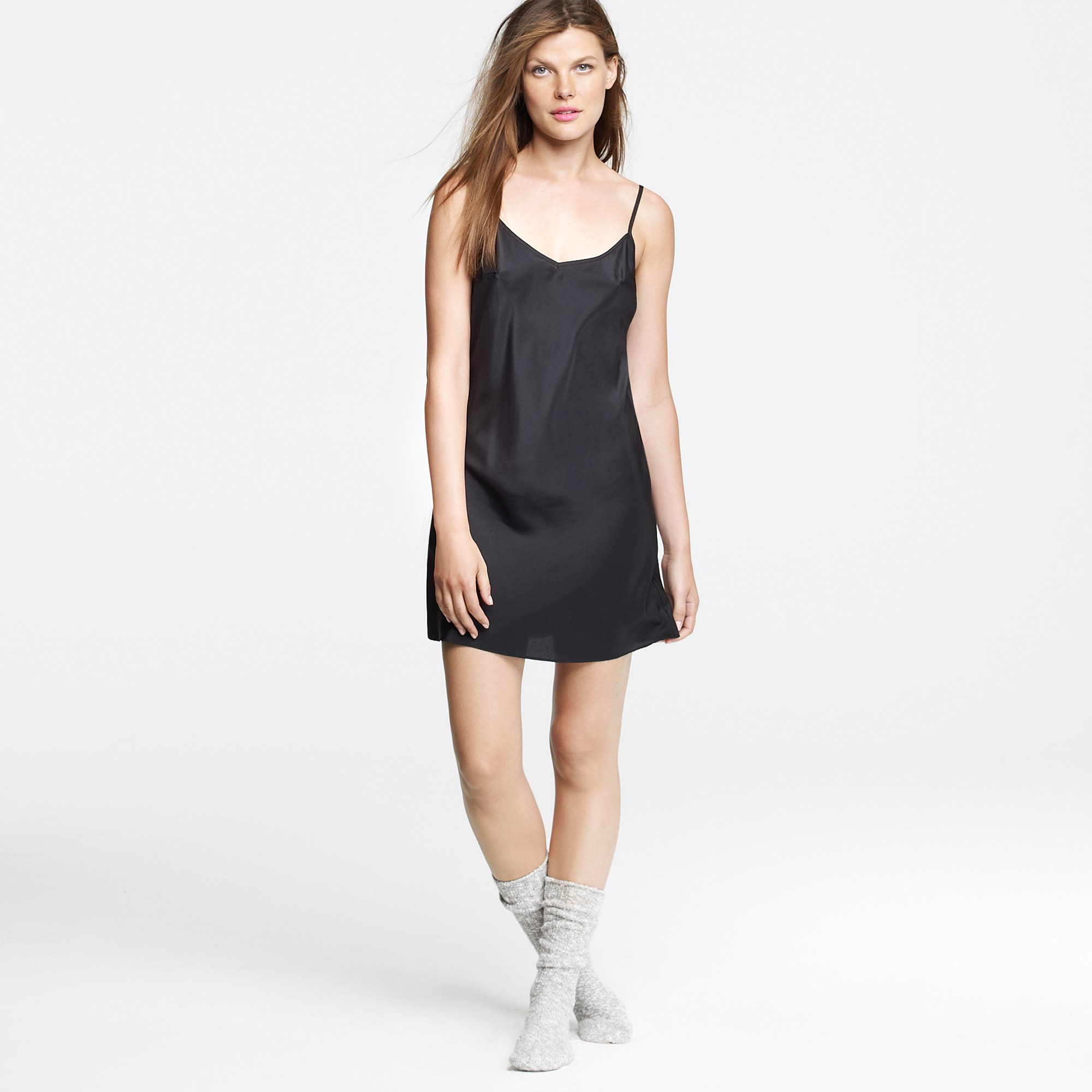 J.crew Silk Slip Dress in Black | Lyst