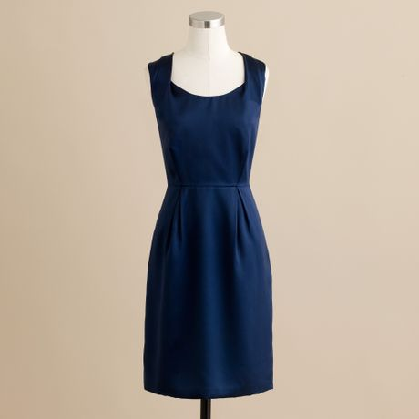 J.crew Kendall Dress in Silk Satin in Blue (dark navy)
