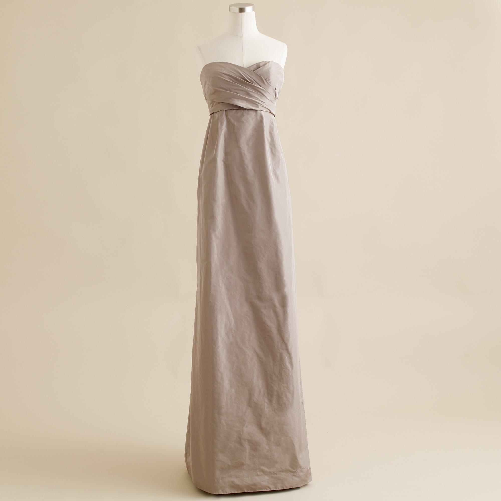 Lyst - J.Crew Arabelle Long Dress in Silk Taffeta in Gray