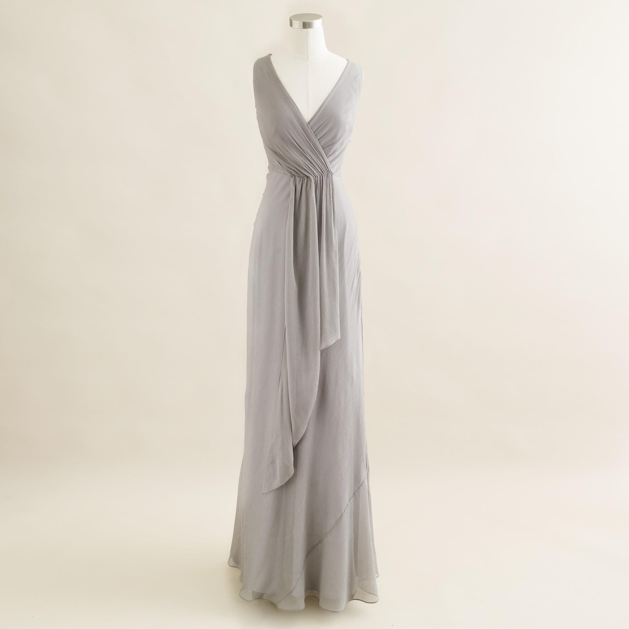 8afaa1fe137 Lyst - J.Crew Evie Long Dress in Silk Chiffon in Gray