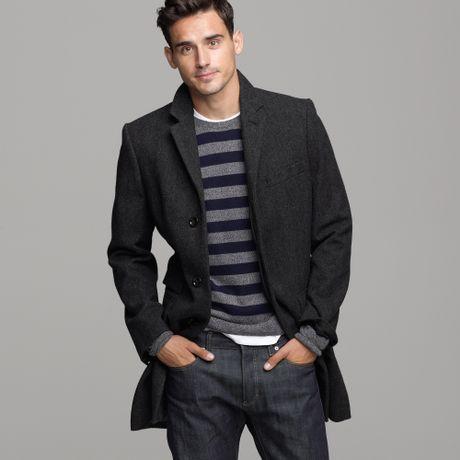 J Crew Mayfair Wool Herringbone Topcoat In Gray For Men