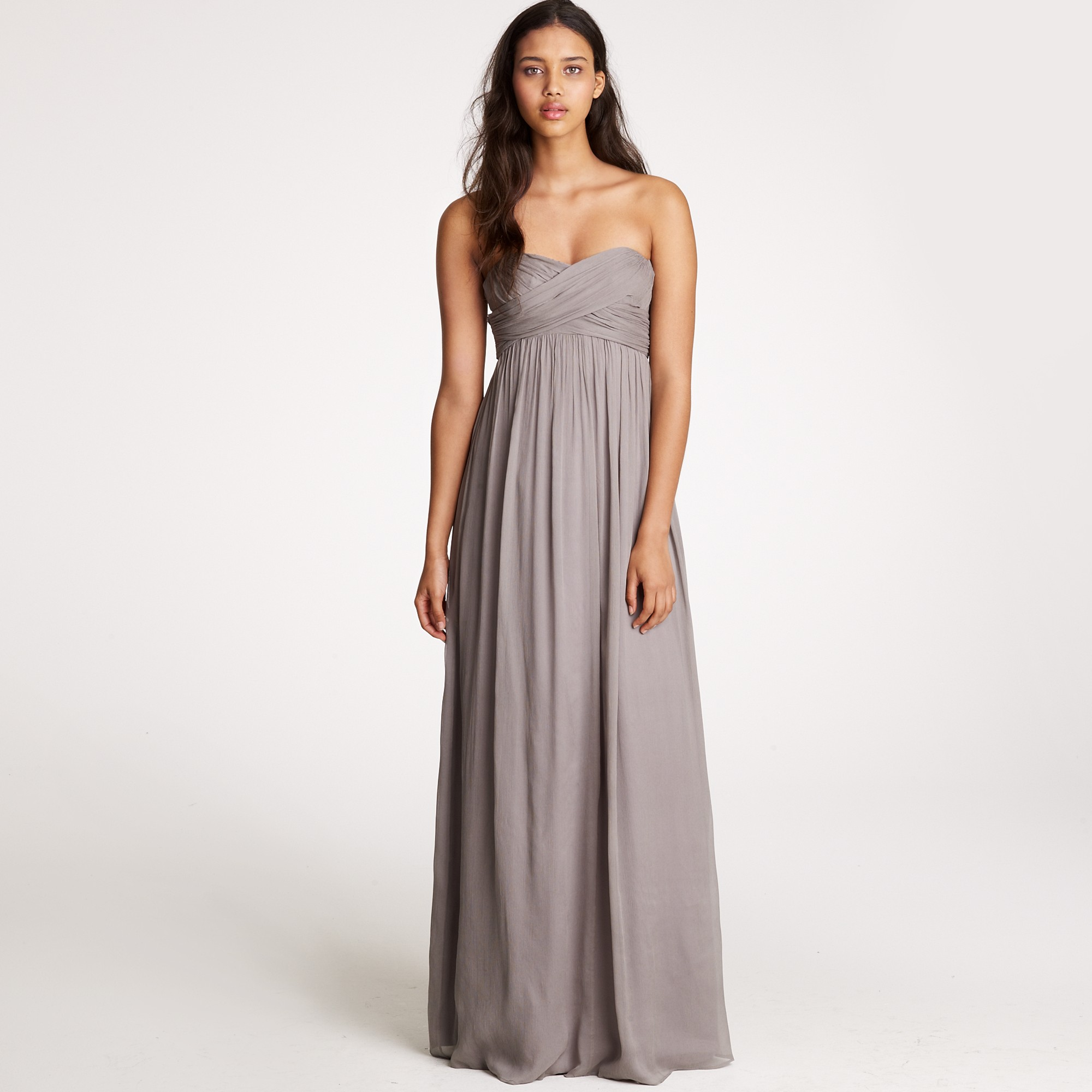 Jew taryn long dress in silk chiffon in gray lyst gallery ombrellifo Choice Image