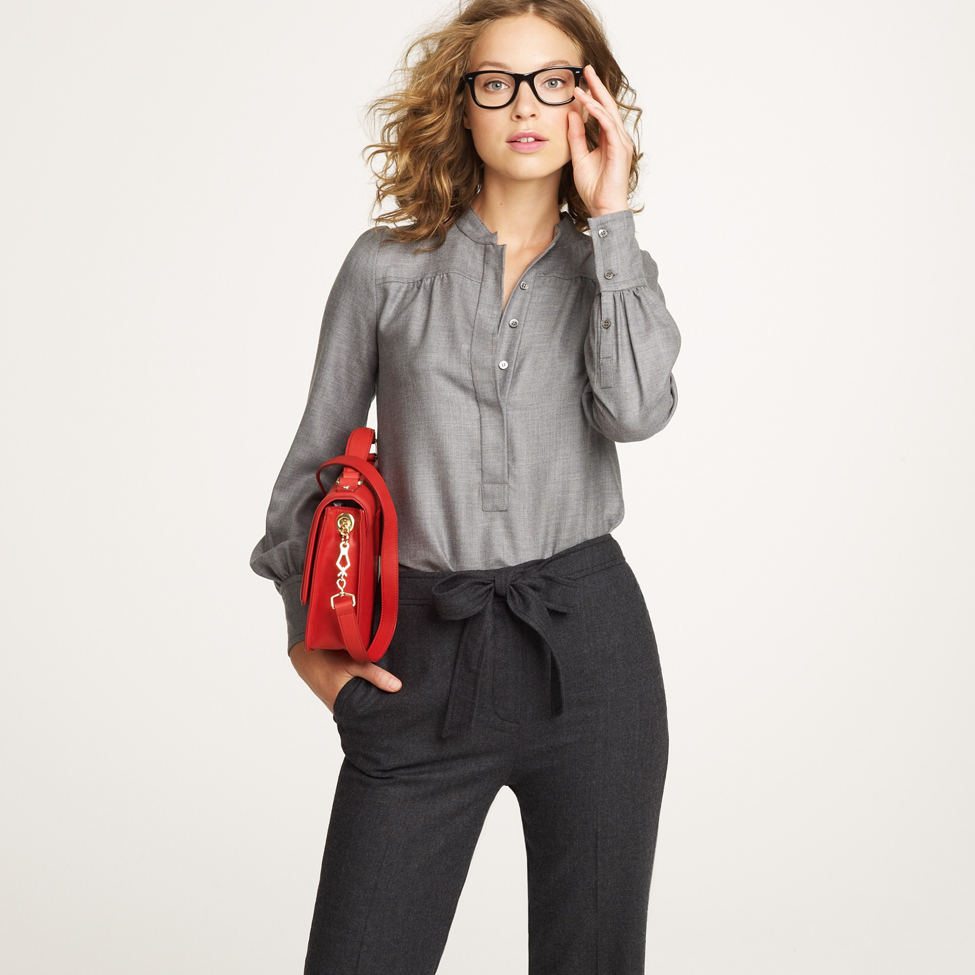 Lyst J Crew Cashmere Blouse In Gray
