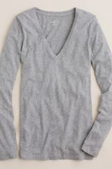 J.Crew Vintage Cotton Long-sleeve V-neck Tee - Lyst
