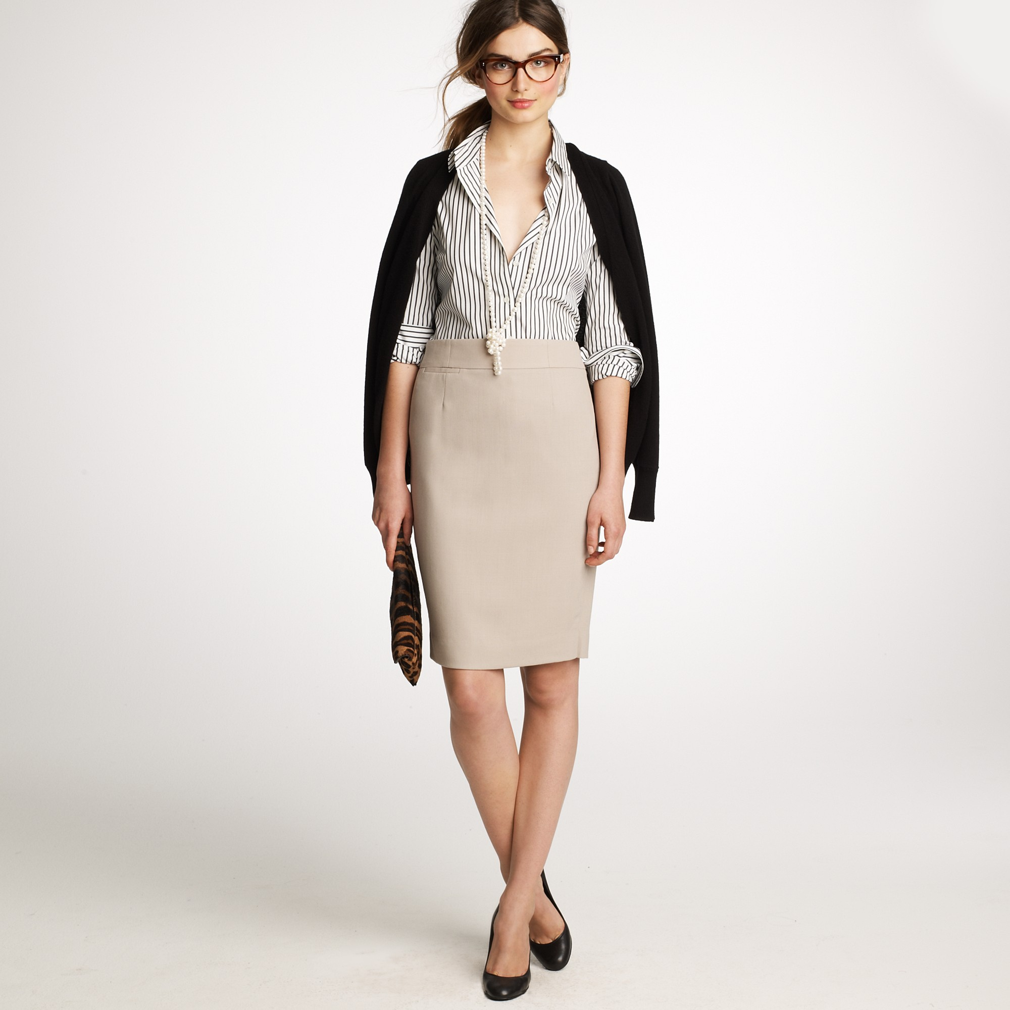 J.crew Pencil Skirt in Wool Crepe in Natural | Lyst