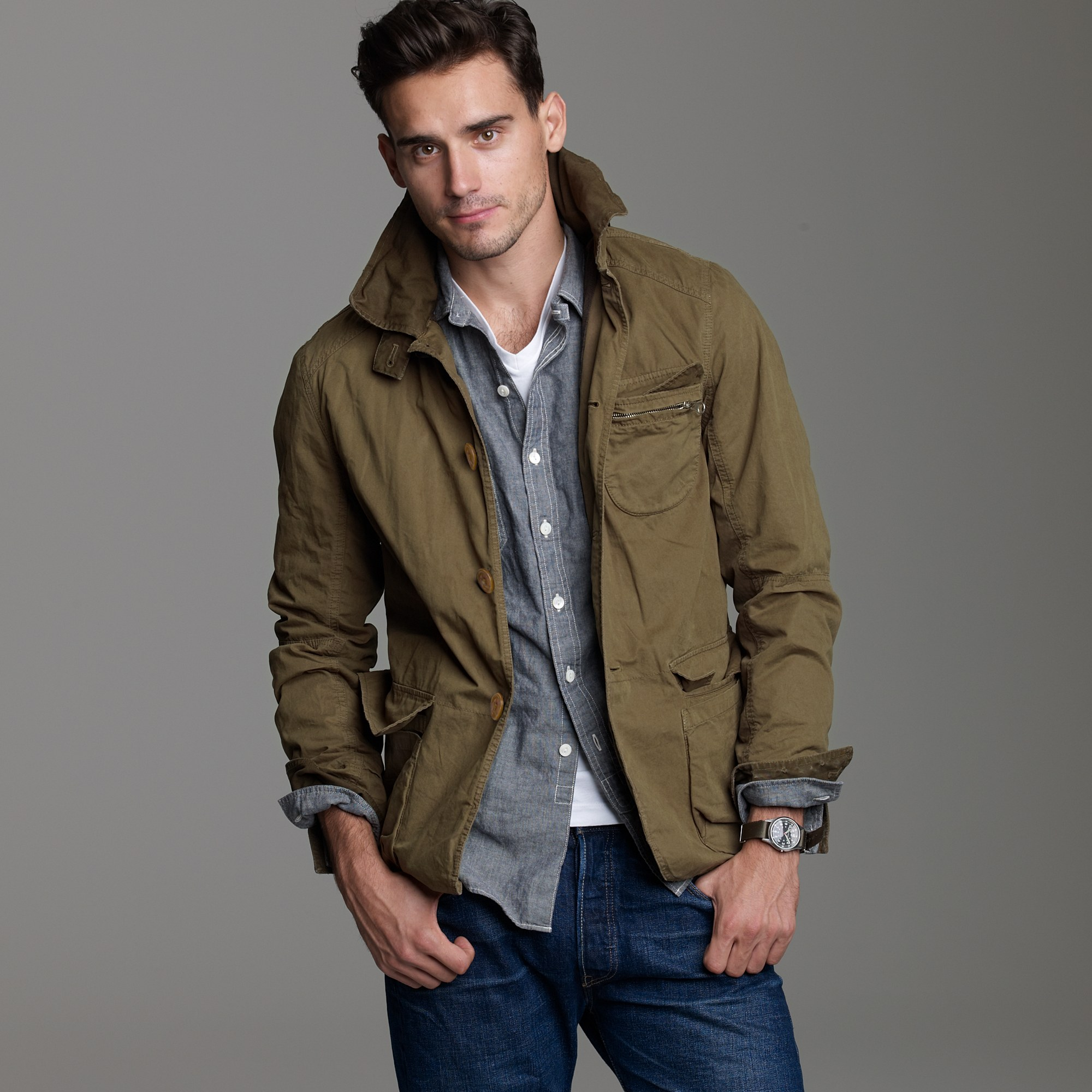 Trapper jacket in green for men lyst for J crew mens outfits