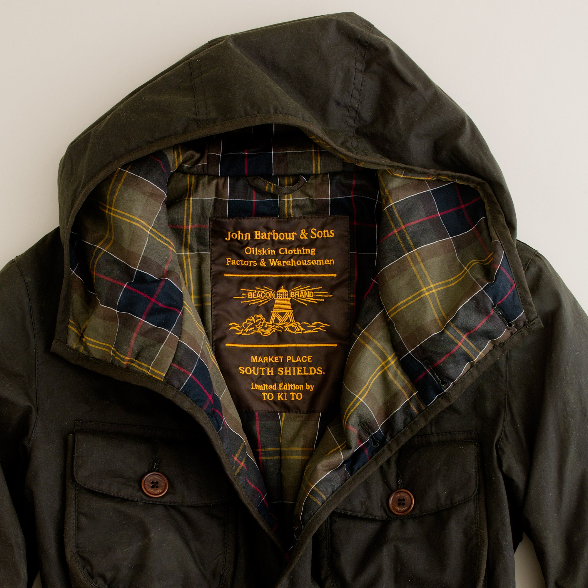 J Crew Barbour 174 X To Ki To Hooded Hunter Jacket In Green