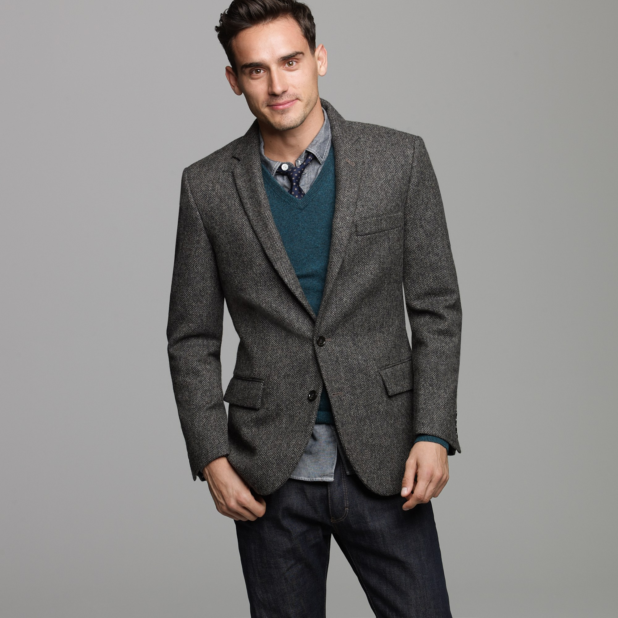 J.crew Harrington Birds-eye Tweed Sportcoat in Ludlow Fit in Gray