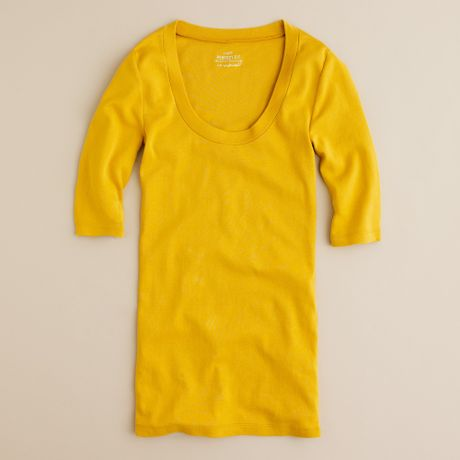 J.crew Perfectfit Scoopneck Tee in Yellow (warm mustard) - Lyst
