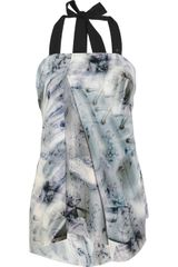 McQ by Alexander McQueen Asymmetric Printed Silk Top - Lyst
