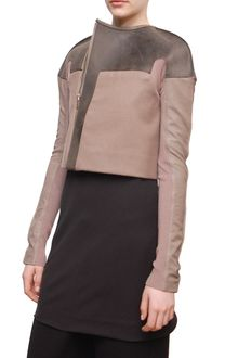 Rick Owens Short Wool Jacket with Leather Details - Lyst
