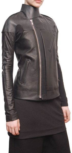 Rick Owens Structured Leather Jacket with Side Zip - Lyst