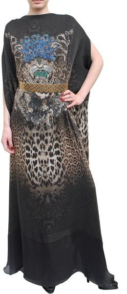 Roberto Cavalli Long Kaftan Silk Dress with Jaguar Print in Multicolor (multi) - Lyst