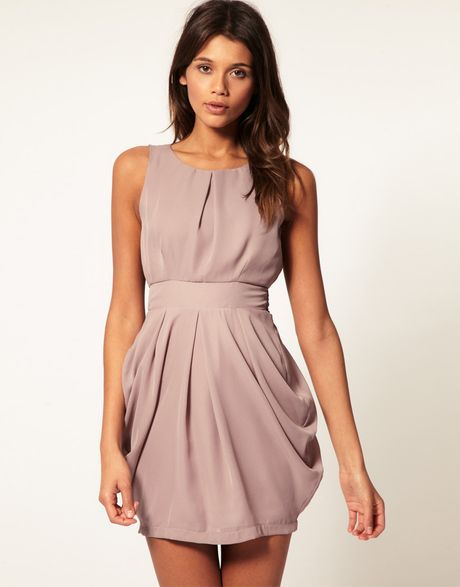 Asos Collection Asos Tulip Dress with Tie Back in Purple (mink) - Lyst