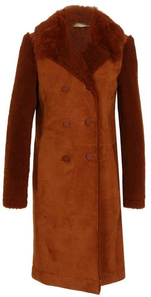 Balenciaga Shearling Coat with Lamb Hair Collar - Lyst