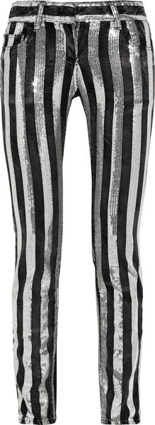 Balmain Sequin-striped Mid-rise Cropped Jeans - Lyst