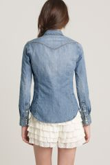J.crew Denim Western Shirt in Blue (boxcar wash) - Lyst