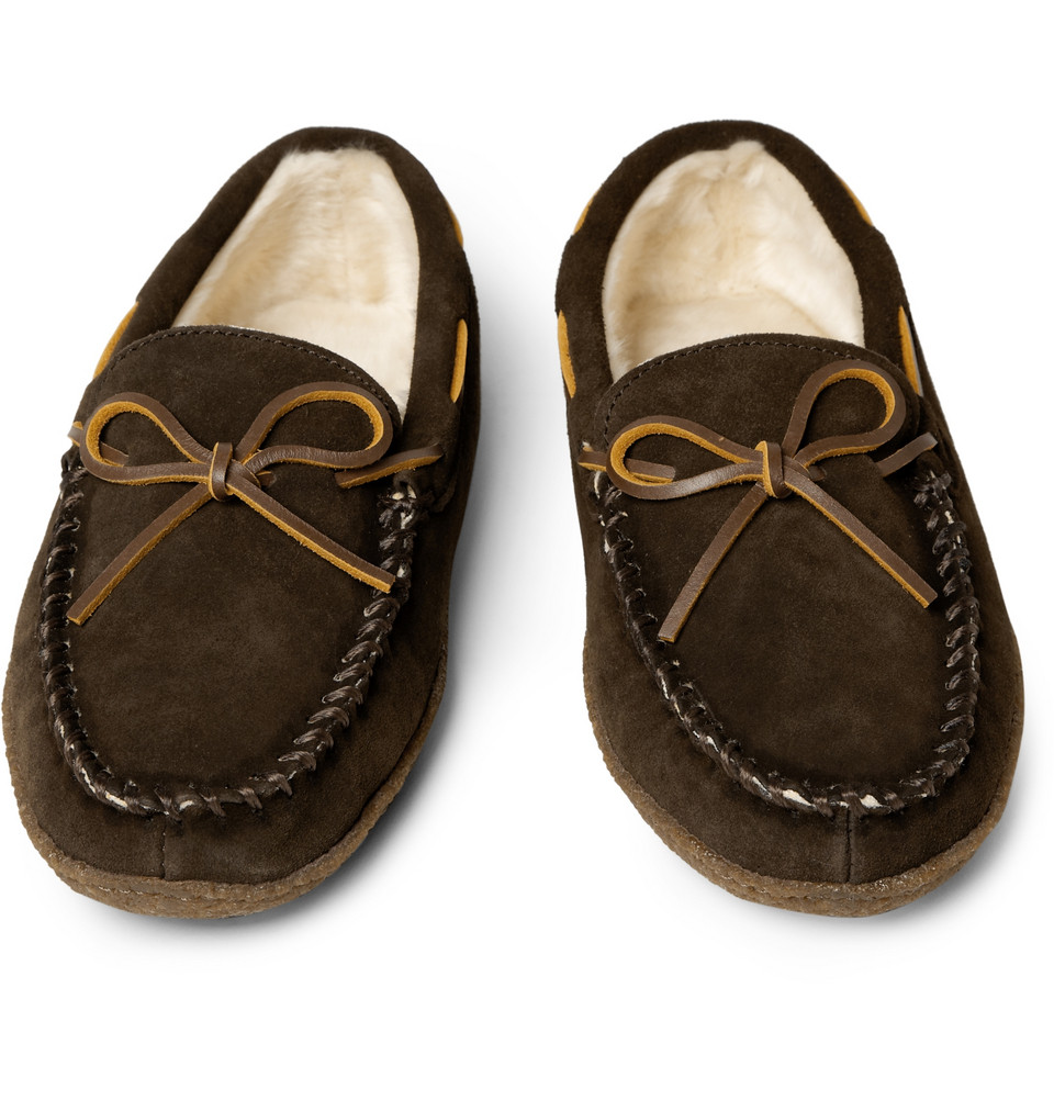 Fleece lined suede slippers in brown for men lyst for J crew bedroom slippers