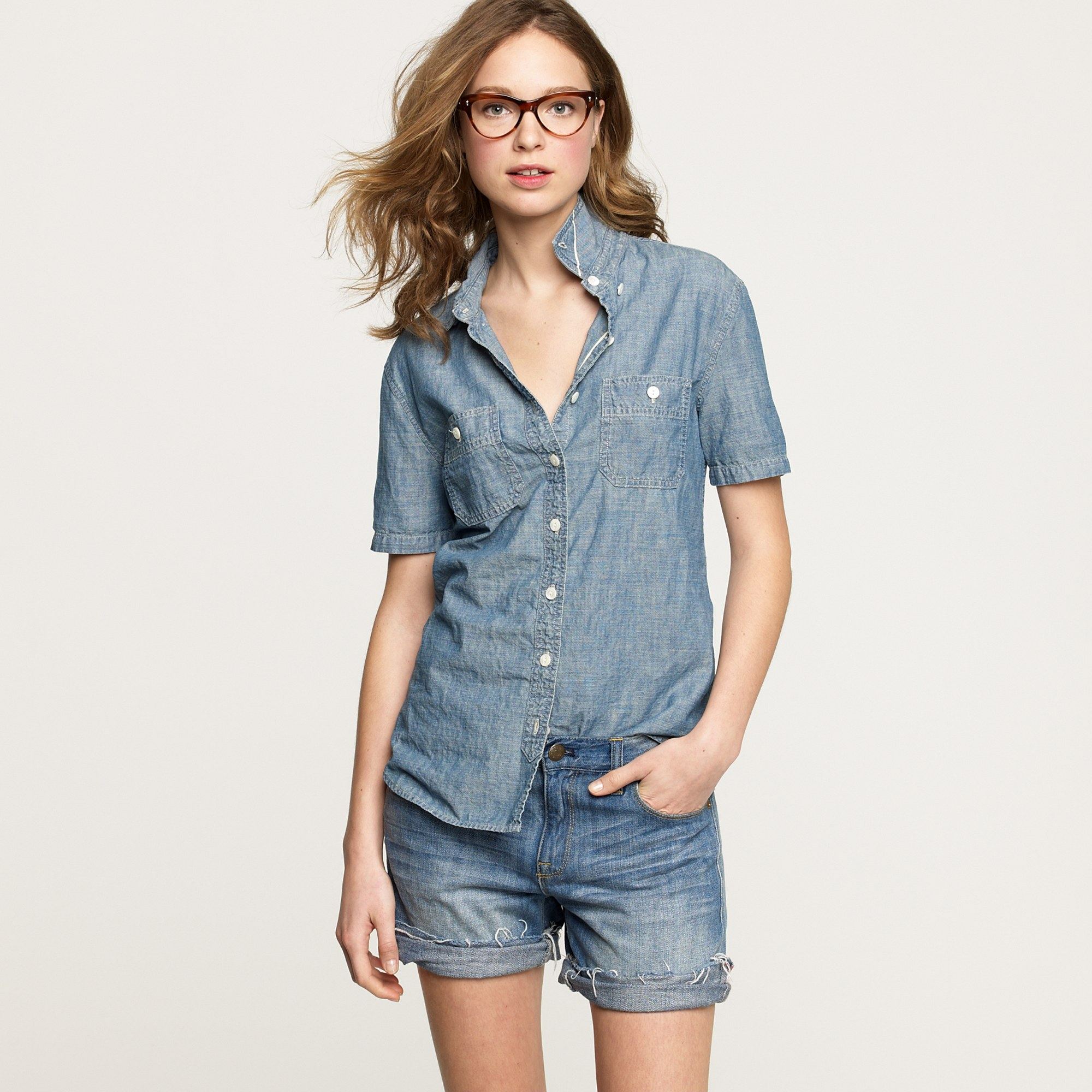 short sleeve selvedge chambray shirt in blue lyst