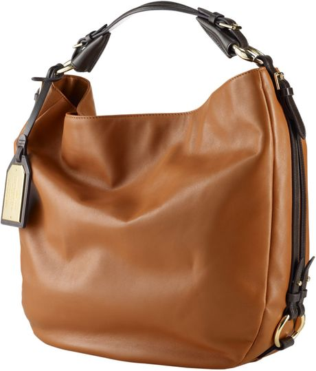 By Ralph Lauren Harbridge Leather Hobo Bag in Brown (grnt/chsnt