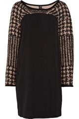 Saint Laurent Oversized Wool-blend and Chiffon Dress - Lyst