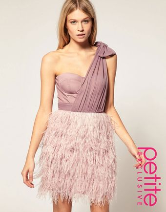 ASOS Collection Asos Petite Exclusive Asymmetric Feather Bandeau Dress - Lyst