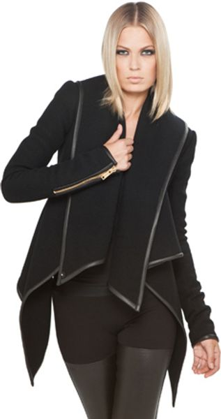 Gareth Pugh Drape Jacket with Leather Trim in Black - Lyst