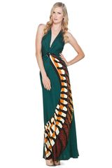 Issa Long Halter Dress in Music Green - Lyst