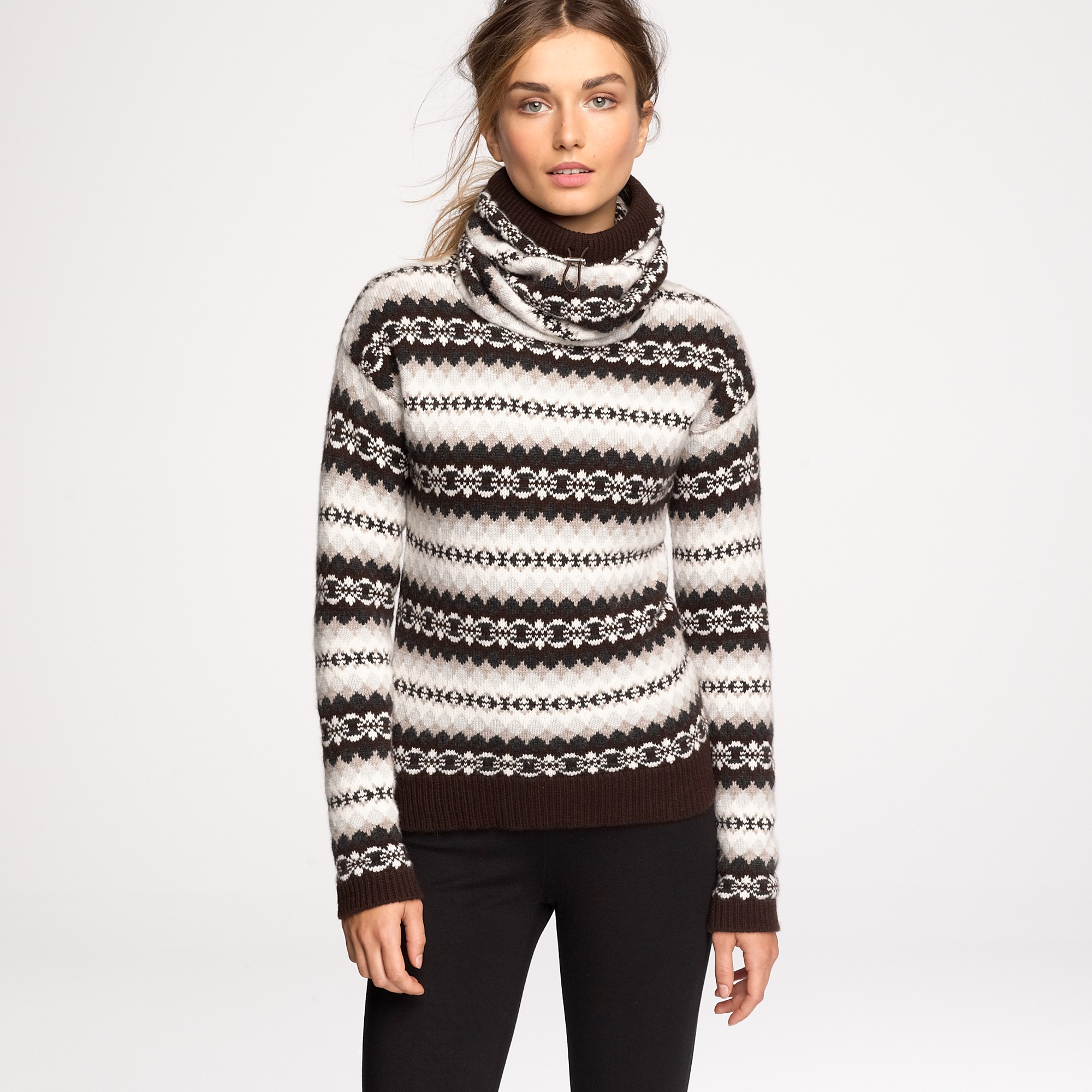J.crew Authier® Cashmere Ski Sweater in Brown | Lyst