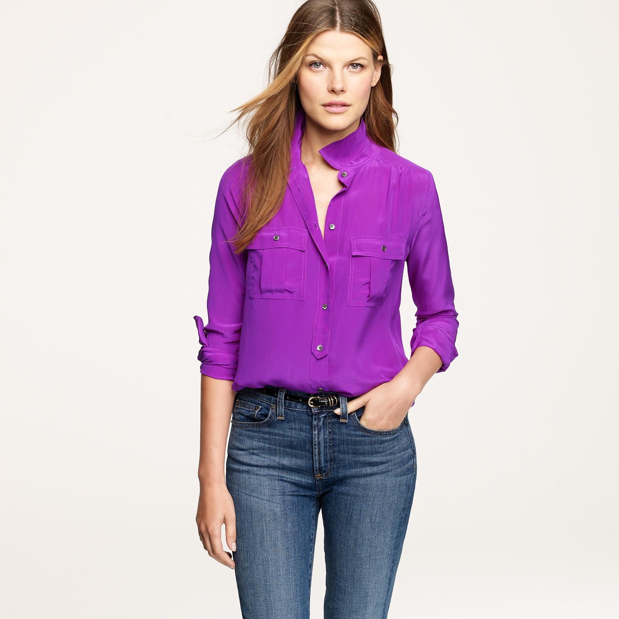 39d0cfe09f2f41 J.Crew Blythe Blouse in Silk in Purple - Lyst