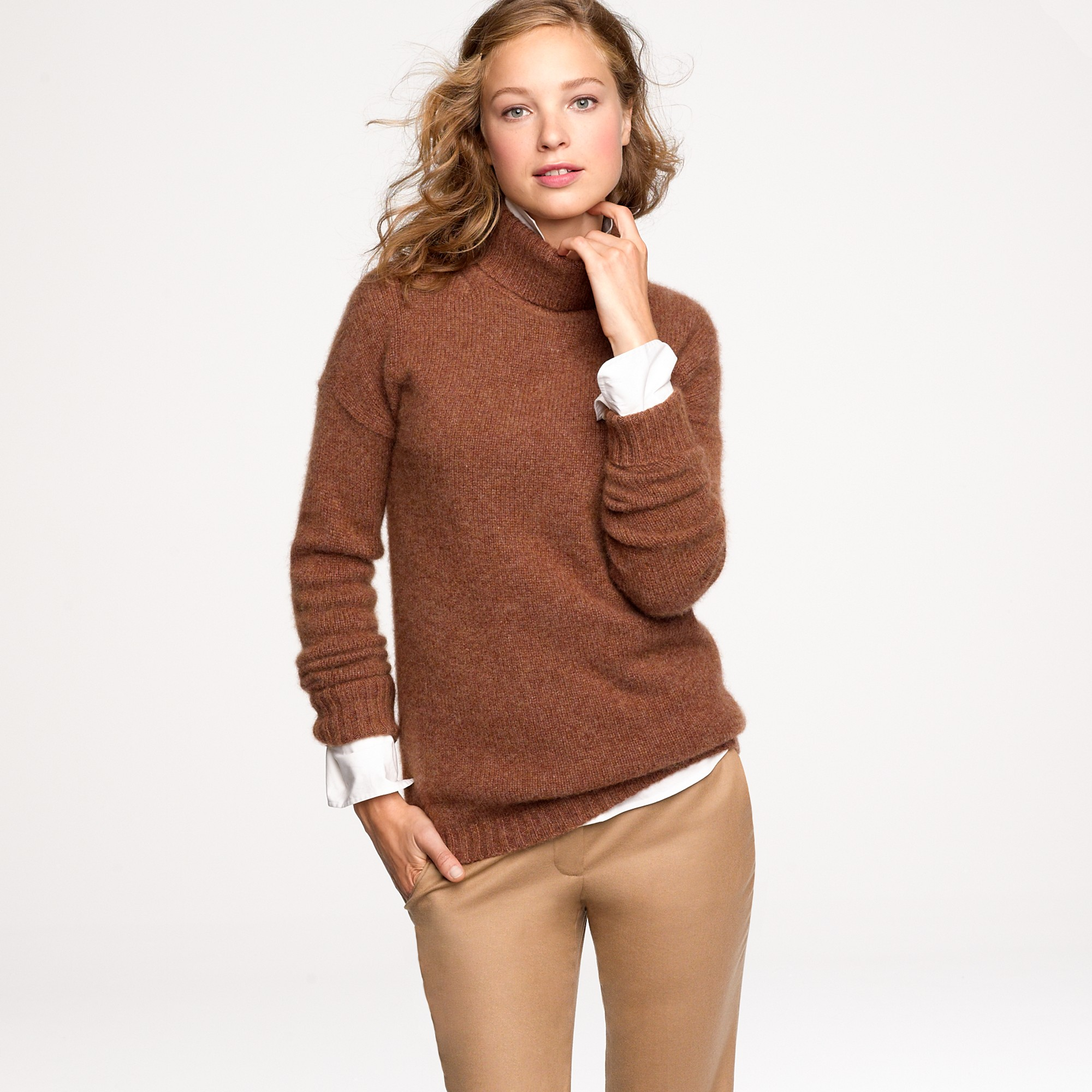 J.crew Cashmere-mohair Turtleneck Sweater in Brown | Lyst