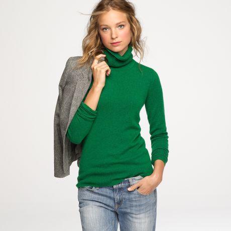 J Crew Cashmere Turtleneck Sweater In Green Hthr Jungle