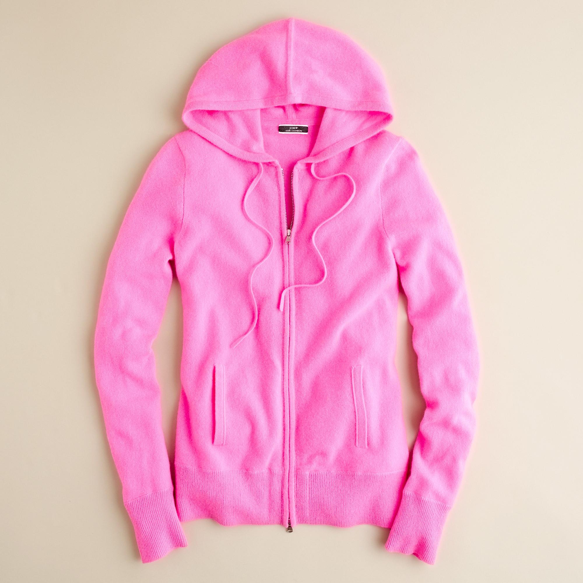 J.crew Cashmere Zip-front Hoodie in Pink | Lyst