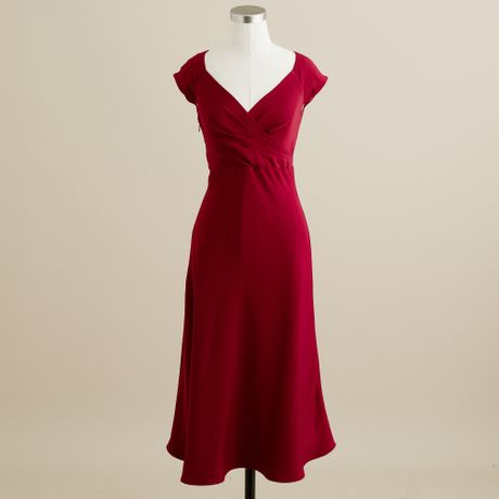Crew cecelia dress in silk tricotine in red vintage burgundy lyst