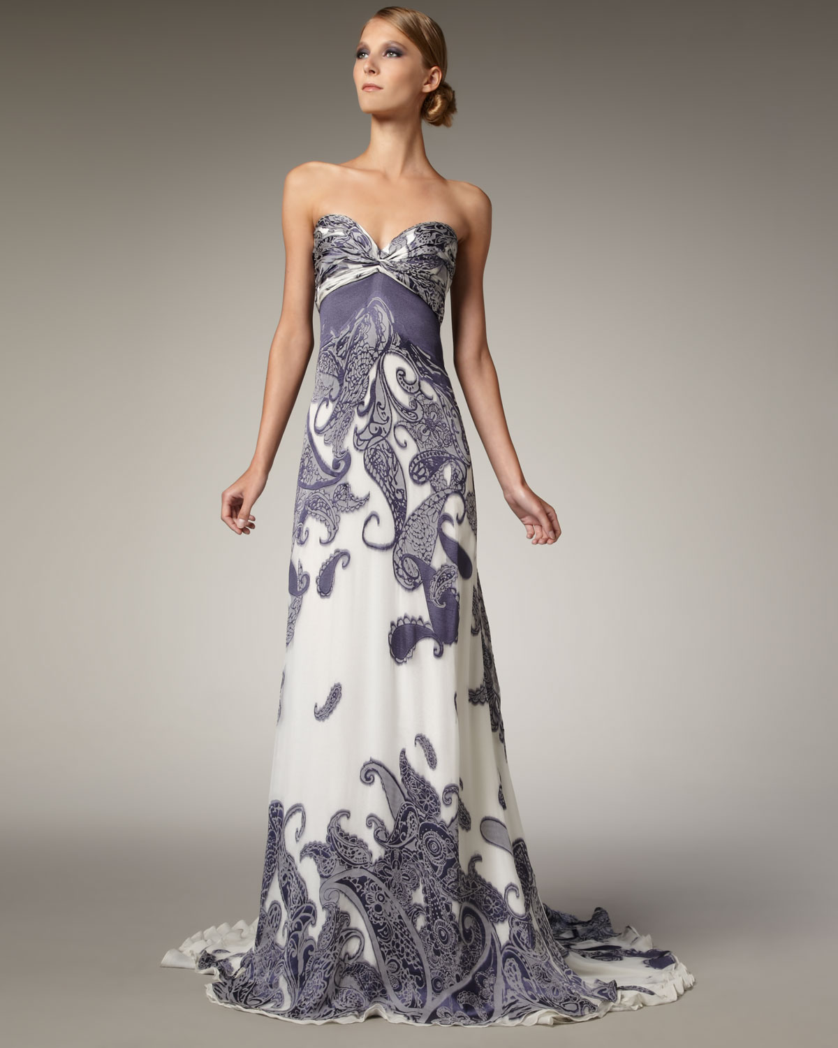 Lyst - Naeem Khan Strapless Paisley Jacquard Gown in Purple