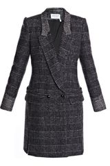Saint Laurent Prince Of Wales Tweed Riding Coat - Lyst