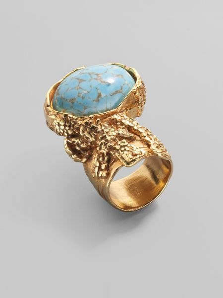 Yves Saint Laurent Arty Ovale Ring in Blue (turquoise) - Lyst
