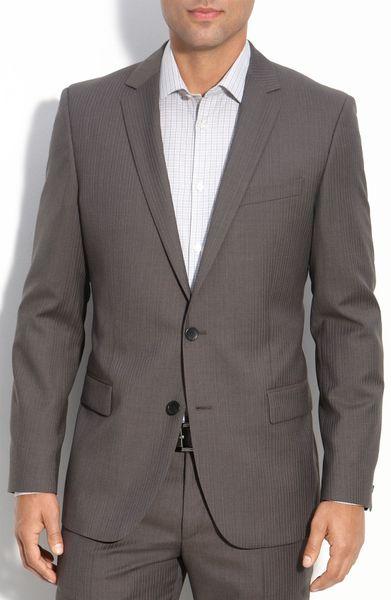 hugo boss hugo amaro heise grey shadow stripe wool suit in. Black Bedroom Furniture Sets. Home Design Ideas