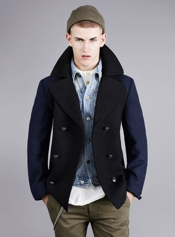 Topman James Small Black Wool Peacoat - Lyst
