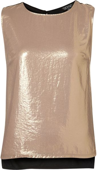 Topshop Metallic Front Shell Top - Lyst