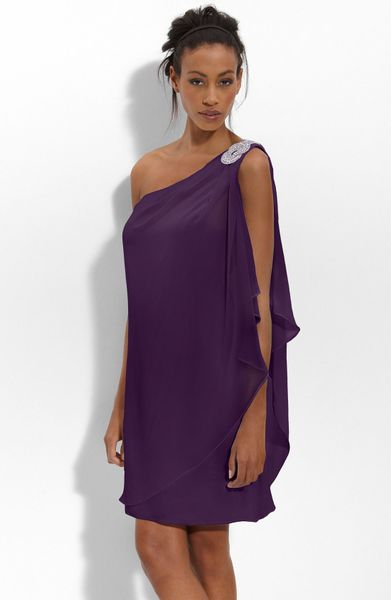 Js Boutique Embellished One Shoulder Chiffon Dress in Purple (plum) - Lyst