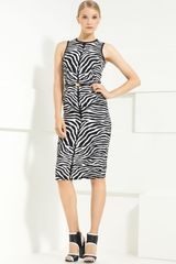 Michael Kors Zebra Print Stretch Cady Sheath Dress - Lyst