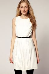 Ted Baker Pleated Front Belted Dress in Beige (cream) - Lyst